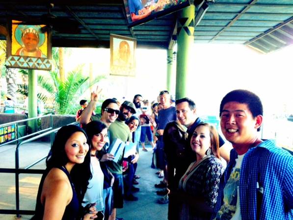 Miva employees and their families waiting for the Safari Tram. Bonding time!