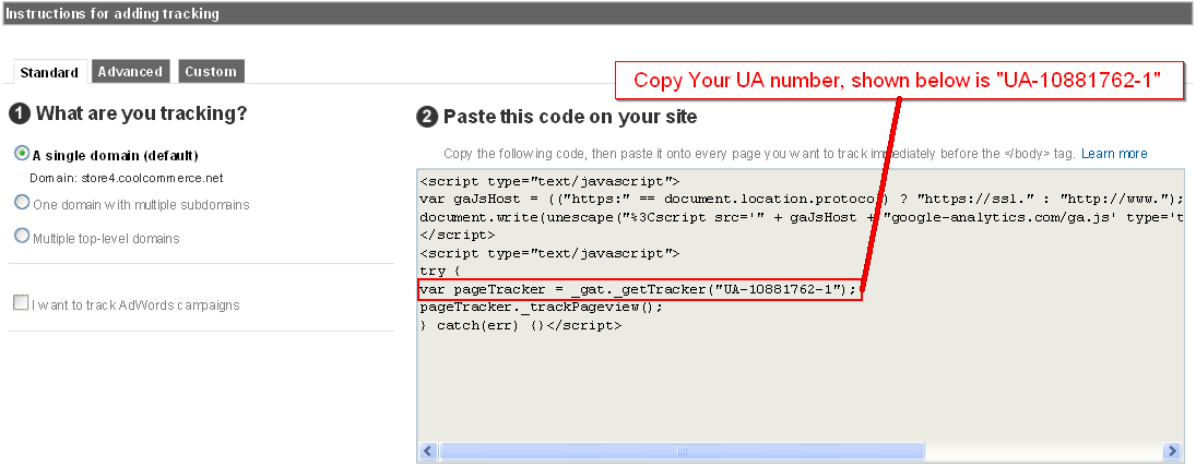 Copy Google Analytics tracking code example