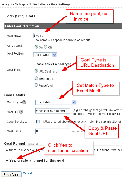 Google Analytics Edit Goal Settings