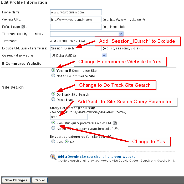 Google Analytics Profile changes