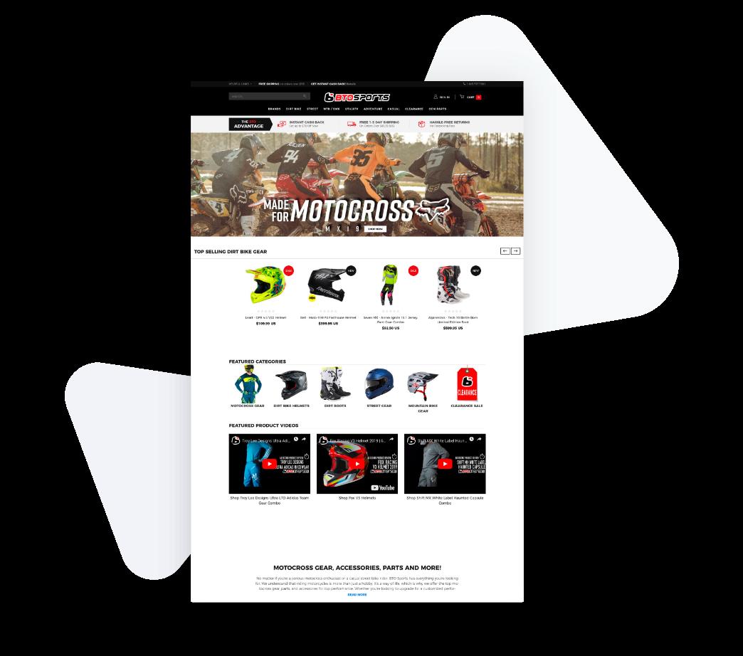 Screenshot of motocross website.