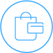 Icon if a shopping bag and credit card.