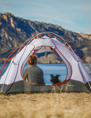 Woman and dog in a tent on a lake.