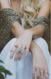 Woman with rings on.