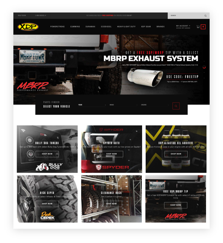 Screenshot of auto parts website.