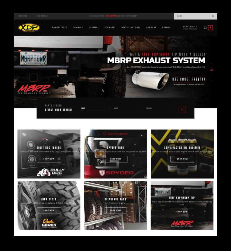Screenshot of auto parts website.