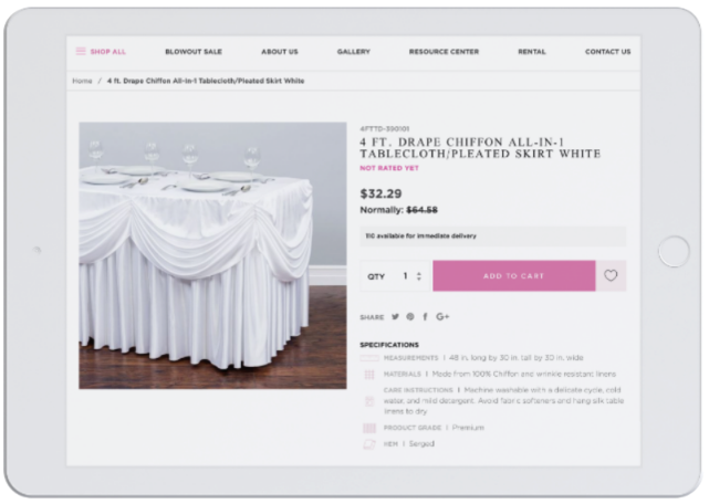 Tablet with Linen Tablecloth product page displayed.