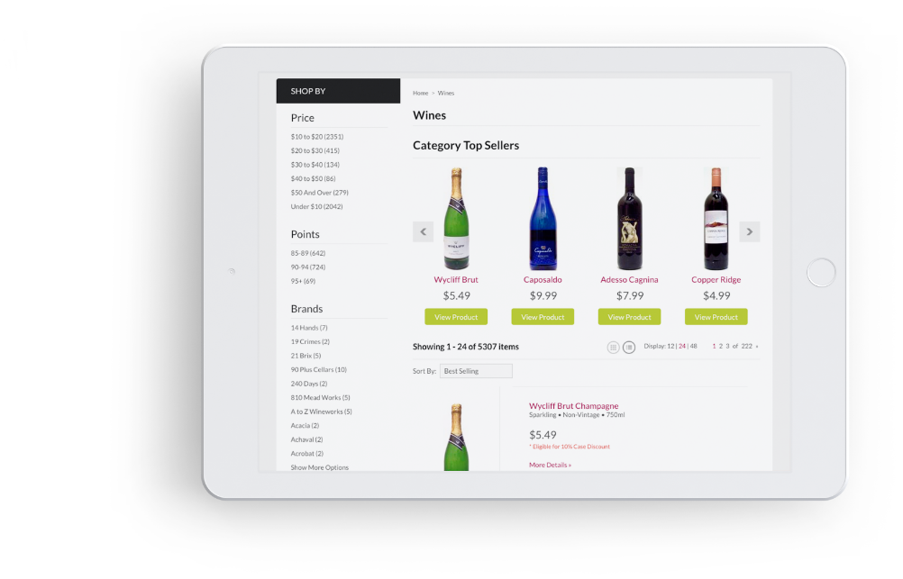 iPad with wine store product page displayed.