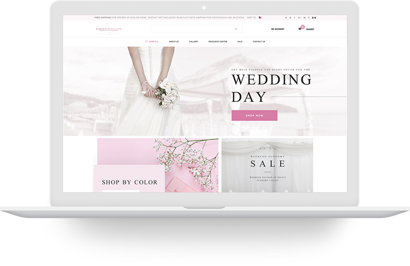 Laptop with wedding website displayed.