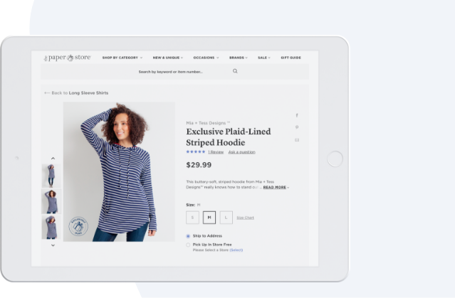 iPad with clothing store product page displayed.