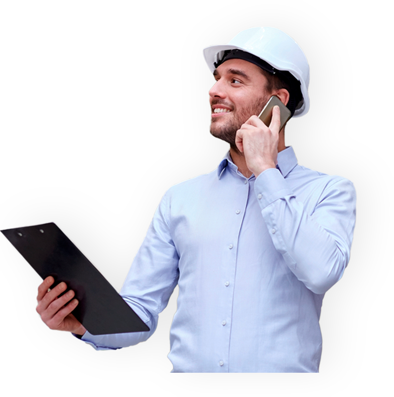 Man with hardhat, talking on a smartphone and looking away with a clipboard.