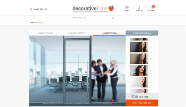 Decorative Films website screenshot. Sized for tablet.