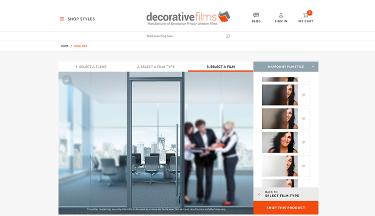 Decorative Films website screenshot. Sized for tablet.