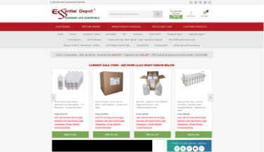 Essential Depot website screenshot. Sized for tablet.
