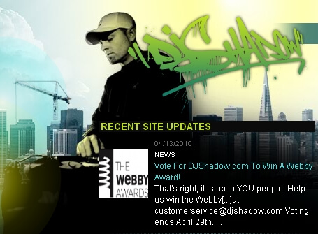Vote DJ Shadow For Celebrity/Fan Webby Award - Miva Blog